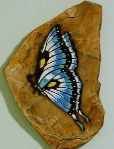 H-R Blue Butterfly Plaque Left
